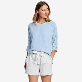 Women's Ophelia 3/4-Sleeve Crochet T-Shirt in Blue