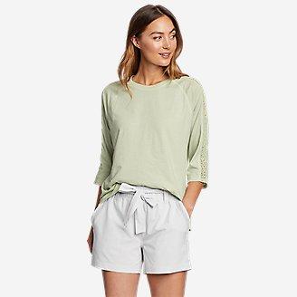 Women's Ophelia 3/4-Sleeve Crochet T-Shirt in Green