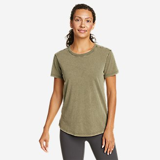 Women's Mineral Wash Novelty T-Shirt in Green