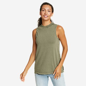 Women's Mineral Wash Novelty Tank Top in Green