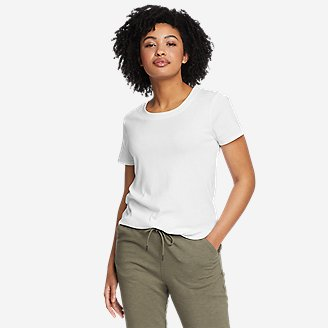Women's Favorite Short-Sleeve Shirttail T-Shirt in White
