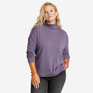Women's Favorite Long-Sleeve Mock-Neck T-Shirt in Purple