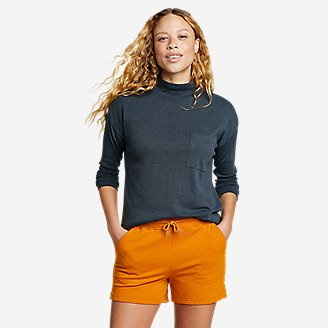 Women's Favorite Long-Sleeve Mock-Neck T-Shirt in Blue