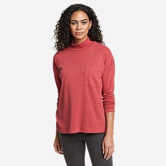 Women's Favorite Long-Sleeve Mock-Neck T-Shirt in Red