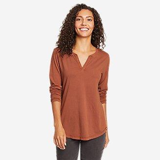 Women's Ophelia Long-Sleeve Notch-Neck T-Shirt in Red