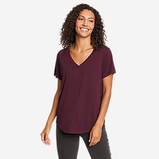 Women's Ophelia Short-Sleeve V-Neck T-Shirt in Red