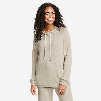 Women's Brushed Mixed-Stitch Easy Hoodie in Beige
