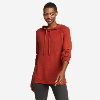 Women's Brushed Mixed-Stitch Easy Hoodie in Red