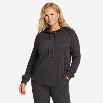 Women's Brushed Mixed-Stitch Easy Hoodie in Gray