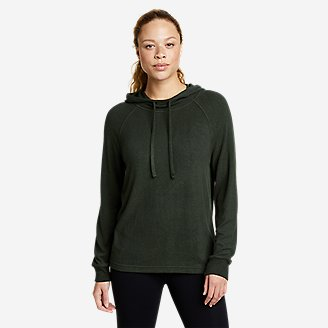 Women's Brushed Mixed-Stitch Easy Hoodie in Green