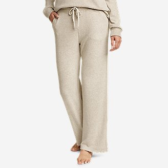 Women's Brushed Mixed-Stitch Wide-Leg Pants in Beige