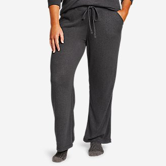 Women's Brushed Mixed-Stitch Wide-Leg Pants in Gray