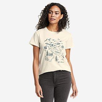 Women's Graphic T-Shirt - River Mountain in White