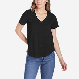 Women's Slub Short-Sleeve Pocket T-Shirt in Black