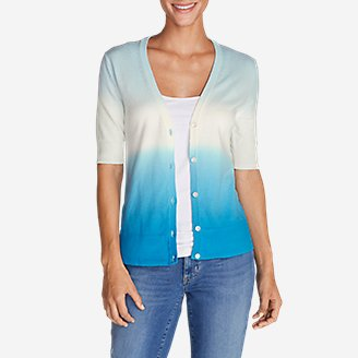 Women's Christine Dip-Dye V-Neck Cardigan Sweater in Blue