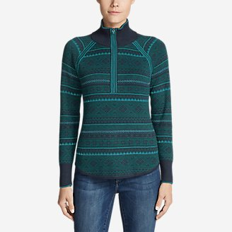 Women's Engage Fair Isle 1/4-Zip Sweater in Blue
