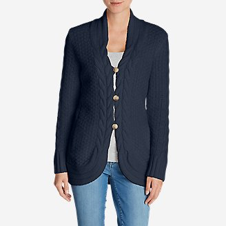 Women's Cable Fable Cardigan Sweater in Blue