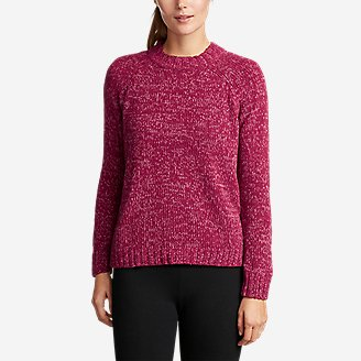 Women's Lounge Around Pullover Crew Sweater in Red