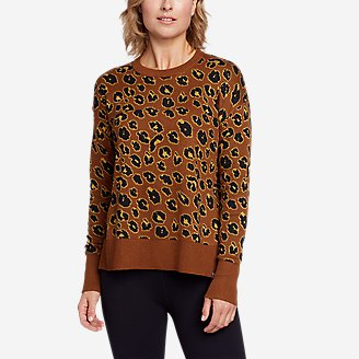 Women's Engage Allover-Pattern Crewneck Sweater in Red