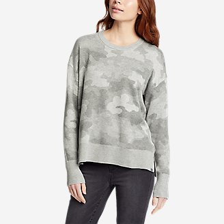 Women's Engage Allover-Pattern Crewneck Sweater in Gray