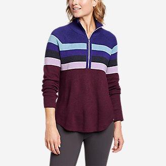 Women's Engage Stripe 1/4-Zip Sweater in Blue