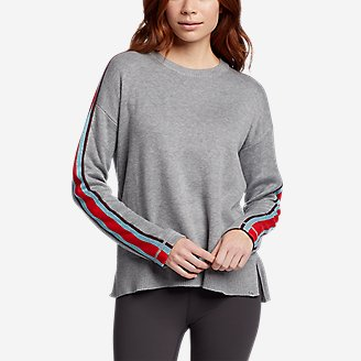 Women's Engage Stripe-Sleeve Crewneck Sweater in Gray