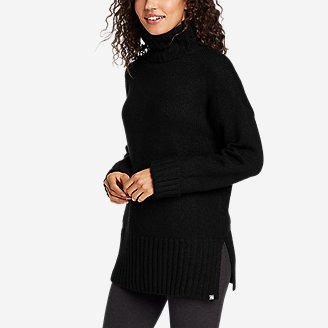 Women's Lounge Funnel-Neck Sweater in Black