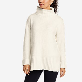 Women's Lounge Funnel-Neck Sweater in White