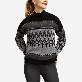 Women's Geo Fair Isle Mock-Neck Pullover Sweater in Gray
