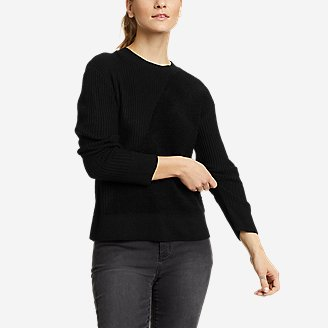 Women's Mixed-Stitch Asymmetrical Pullover Sweater in Black
