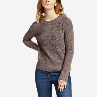 Women's Mixed-Stitch Asymmetrical Pullover Sweater in Brown