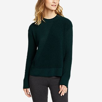 Women's Mixed-Stitch Asymmetrical Pullover Sweater in Green