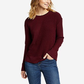 Women's Mixed-Stitch Asymmetrical Pullover Sweater in Red
