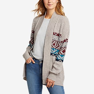Women's Geo Printed Cardigan Sweater in Gray