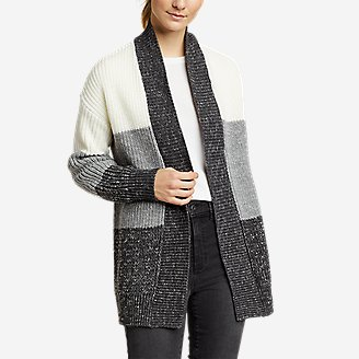 Women's Color-Blocked Cardigan Sweater in Gray
