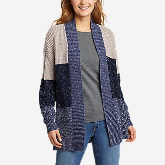 Women's Color-Blocked Cardigan Sweater in Blue