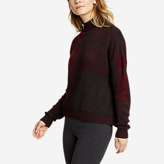 Women's Plaid Mock-Neck Pullover Sweater in Red