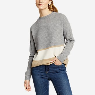 Women's Color-Blocked Pullover Crew in Gray