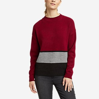 Women's Color-Blocked Pullover Crew in Red
