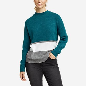 Women's Color-Blocked Pullover Crew in Green