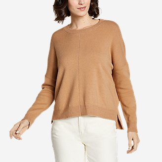 Women's Easy Crewneck Sweater - Solid in Brown