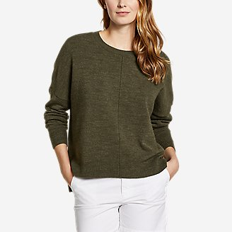 Women's Easy Crewneck Sweater - Solid in Green