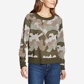 Women's Crewneck Pullover Sweater in Green
