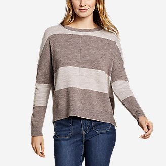 Women's Easy Crewneck Sweater - Stripe in Gray