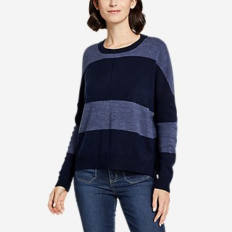 Women's Easy Crewneck Sweater - Stripe in Blue