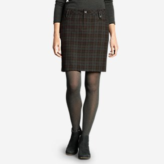 Women's Classic Wool-Blend Skirt - Pattern in Brown