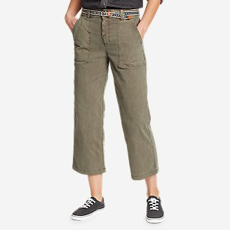 Women's Marina High-Rise Wide-Leg Utility Pants in Green