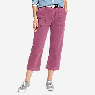 Women's Marina High-Rise Wide-Leg Utility Pants in Red