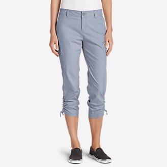 Women's Adventurer Stretch Ripstop Crop Cargo Pants - Slightly Curvy in Blue