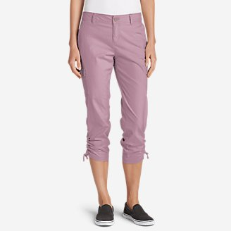Women's Adventurer Stretch Ripstop Crop Cargo Pants - Slightly Curvy in Purple